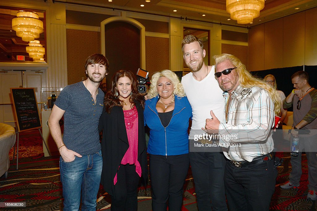 Recording artists Dave Haywood, Hillary Scott, TV personality Beth Chapman, recording artist Charles Kelley and TV personality Dog the Bounty Hunter attend the Dial Global Radio Remotes during The 48th Annual Academy of Country Music Awards at the MGM Grand on April 5, 2013 in Las Vegas, Nevada.
