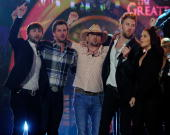 Recording artists Dave Haywood Luke Bryan Jason Aldean Charles Kelley and Hillary Scott perform during the 'Brooks Dunn The Last Rodeo' show...