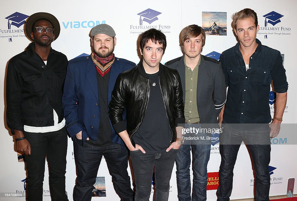 Recording artists De'Mar Hamilton, Mike Retondo, Tom Higgenson, Dave Tirio and Tim Lopez of the musical group Plain White T's attends The Fullfillment Fund's STARS 2012 Benefit Gala at The Beverly Hilton Hotel on October 24, 2012 in Beverly Hills, California.