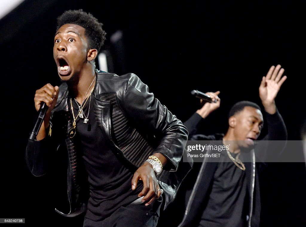 Recording artists <a gi-track='captionPersonalityLinkClicked' href=/galleries/search?phrase=Desiigner+-+Rapper&family=editorial&specificpeople=15733824 ng-click='$event.stopPropagation()'>Desiigner</a> (L) and Michael Davis perform onstage during the 2016 BET Awards at the Microsoft Theater on June 26, 2016 in Los Angeles, California.