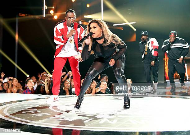 Recording artists Diddy and Lil' Kim perform onstage during the 2015 BET Awards at the Microsoft Theater on June 28 2015 in Los Angeles California
