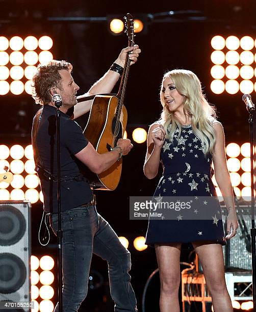 Recording artists Dierks Bentley and Ashley Monroe perform onstage during ACM Presents Superstar Duets at Globe Life Park in Arlington on April 17...