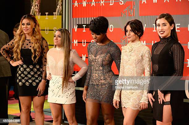 Recording artists DinahJane Hansen Ally Brooke Normani Hamilton Camila Cabello and Lauren Jauregui of Fifth Harmony attend the 2015 MTV Video Music...