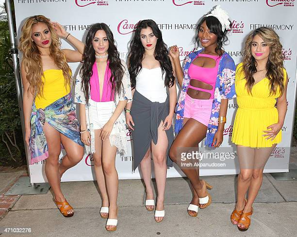 Recording artists DinahJane Hansen Camila Cabello Lauren Jauregui Normani Kordei and Ally Brooke of Fifth Harmony attend the Fifth Harmony Pool...