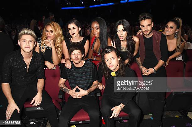 Recording artists DinahJane Hansen Lauren Jauregui Normani Hamilton and Camila Cabello of Fifth Harmony recording artist Liam Payne of One Direction...