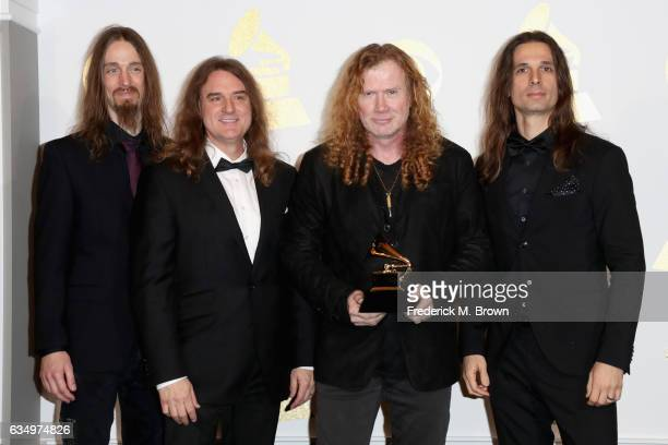 Recording artists Dirk Verbeuren David Ellefson Dave Mustaine and Kiko Loureiro of Megadeth winners of Best Metal Performance for 'Dystopia' pose in...