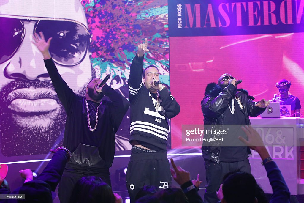 Recording artists DJ Khaled, French Montana, and Rick Ross perform during 106 & Parkat BET studio on March 3, 2014 in New York City.
