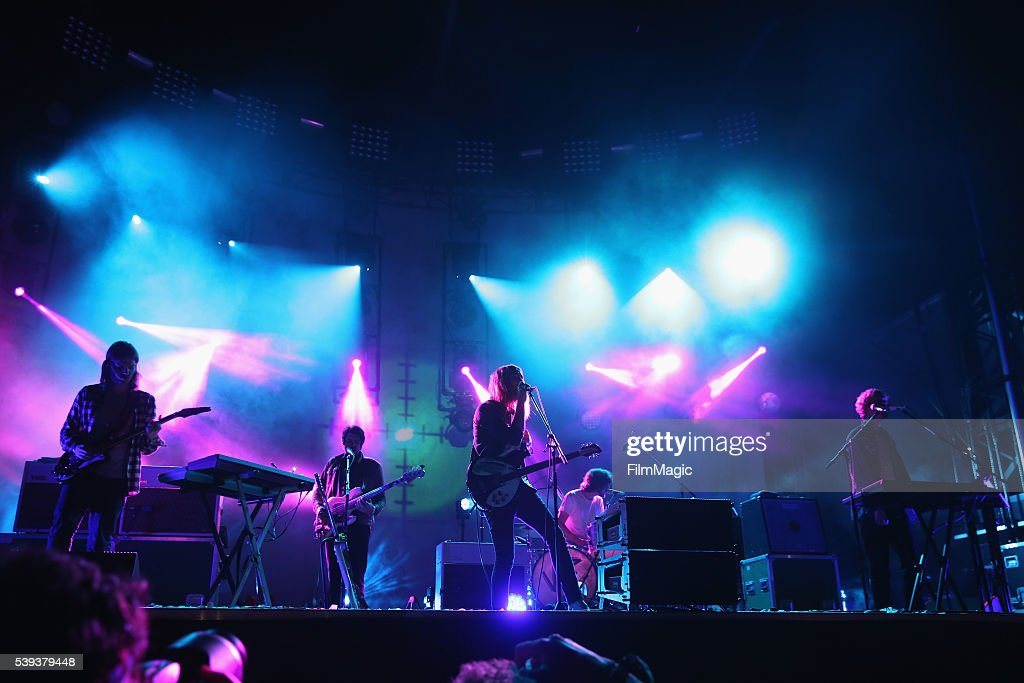 Recording artists Dominic Simper Cam Avery Kevin Parker Julien Barbagallo and Jay Watson of Tame Impala perform onstage at Which Stage during Day 2...