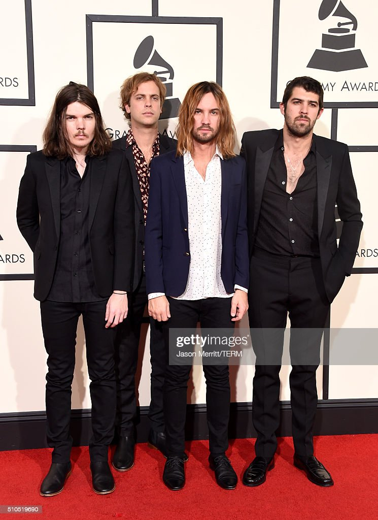 Recording artists Dominic Simper Jay Watson Kevin Parker and Cam Avery of music group Tame Impala attend The 58th GRAMMY Awards at Staples Center on...