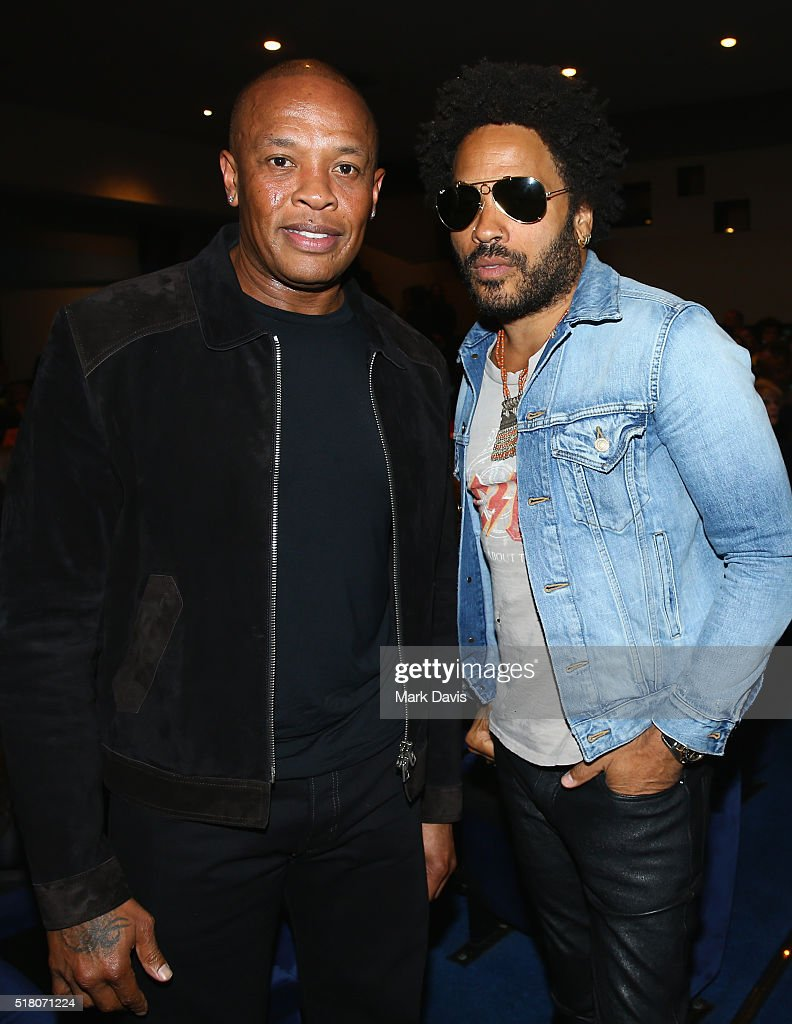 Recording artists Dr. Dre and Lenny Kravitz attends the premiere of Sony Pictures Classics' 'Miles Ahead' at Writers Guild Theater on March 29, 2016 in Beverly Hills, California.