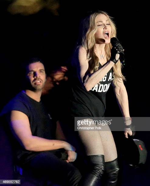 Recording artists Drake and Madonna perform onstage during day 3 of the 2015 Coachella Valley Music Arts Festival at the Empire Polo Club on April 12...
