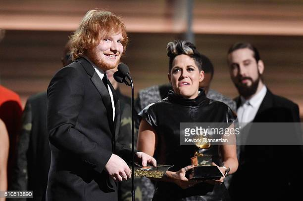 Recording artists Ed Sheeran and Amy Wadge accept award for Best Pop Solo Performance for 'Thinking Out Loud' onstage during The 58th GRAMMY Awards...