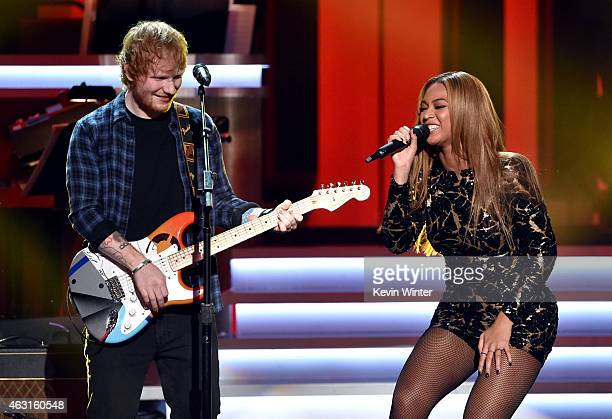 Recording artists Ed Sheeran and Beyonce perform onstage during Stevie Wonder Songs In The Key Of Life An AllStar GRAMMY Salute at Nokia Theatre LA...