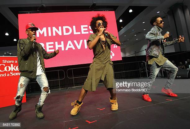 Recording artists EJ Princeton and Craig Crippen of Mindless Behavior perform onstage at the Coke music studio during the 2016 BET Experience on June...