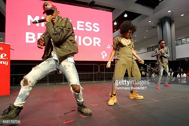 Recording artists EJ Princeton and Mike of Mindless Behavior perform onstage at the Coke music studio during the 2016 BET Experience on June 26 2016...