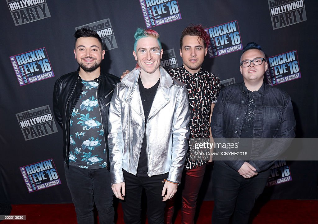 Recording artists Eli Maiman, Nicholas Petricca, Kevin Ray and Sean Waugaman of Walk the Moon attend Dick Clark's New Year's Rockin' Eve with Ryan Seacrest 2016 on December 31, 2015 in Los Angeles, CA.