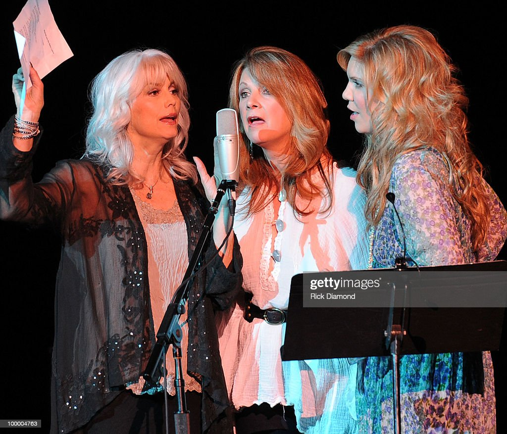 Recording Artists Emmylou Harris, Patty Loveless and Alison Krauss perform during the 'Music Saves Mountains' benefit concert at the Ryman Auditorium on May 19, 2010 in Nashville, Tennessee.