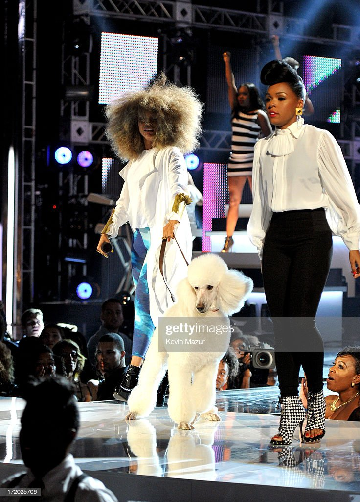 Recording artists Erykah Badu and Janelle Monae perform onstage during the 2013 BET Awards at Nokia Theatre LA Live on June 30 2013 in Los Angeles...
