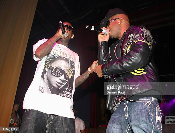 Recording artists Fabolous and Red Cafe perform at DJ Reach's Birthday Party at Mansion on August 19 2008 in New York City