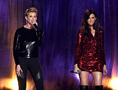 Recording artists Faith Hill and Karen Fairchild of Little Big Town perform onstage during the 2015 Billboard Music Awards at MGM Grand Garden Arena...