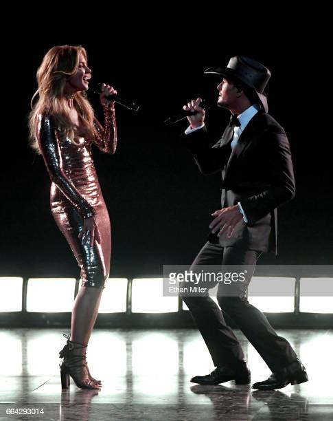 Recording artists Faith Hill and Tim McGraw perform during the 52nd Academy of Country Music Awards at TMobile Arena on April 2 2017 in Las Vegas...