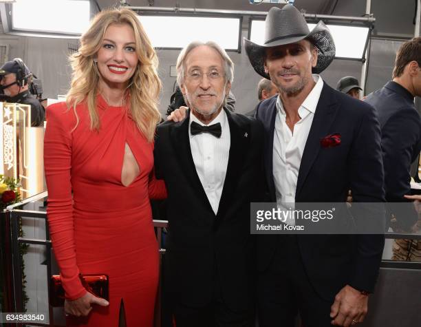 Recording artists Faith Hill Tim McGraw and President/CEO of The Recording Academy and GRAMMY Foundation President/CEO Neil Portnow attend The 59th...