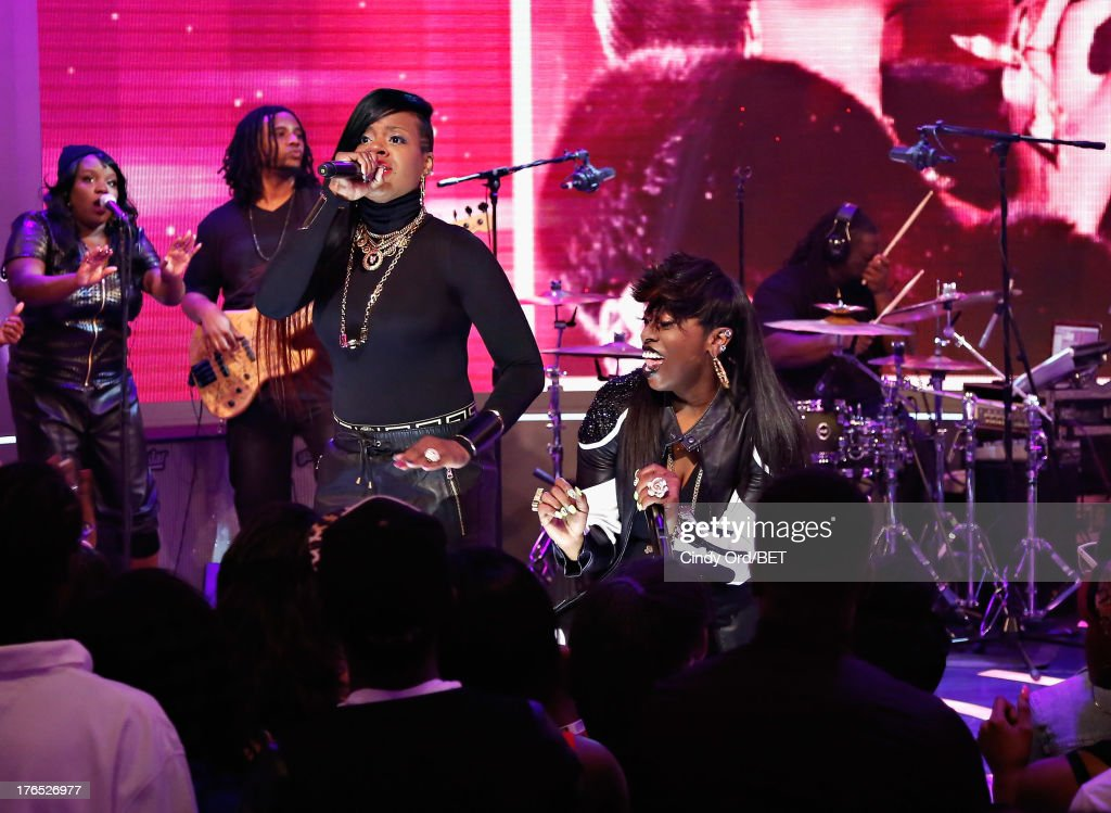 Recording artists Fantasia and <a gi-track='captionPersonalityLinkClicked' href=/galleries/search?phrase=Missy+Elliott&family=editorial&specificpeople=202074 ng-click='$event.stopPropagation()'>Missy Elliott</a> perform during BET's '106 and Park' at BET Studios on August 14, 2013 in New York City.