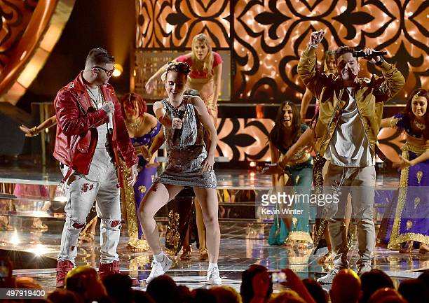 Recording artists Farruko MO and J Balvin perform onstage during the 16th Latin GRAMMY Awards at the MGM Grand Garden Arena on November 19 2015 in...
