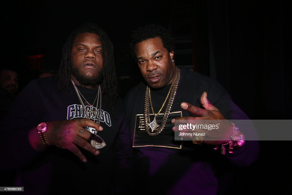 Recording artists Fat Trel and Busta Rhymes attend Best Buy Theater on March 3, 2014, in New York City.