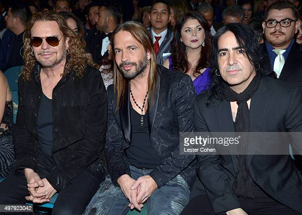 Recording artists Fher Olvera Sergio Vallin and Alex Gonzalez attend the 16th Latin GRAMMY Awards at the MGM Grand Garden Arena on November 19 2015...