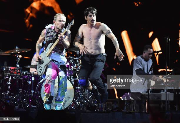Recording artists Flea and Anthony Kiedis of Red Hot Chili Peppers perform onstage at What Stage during Day 3 of the 2017 Bonnaroo Arts And Music...