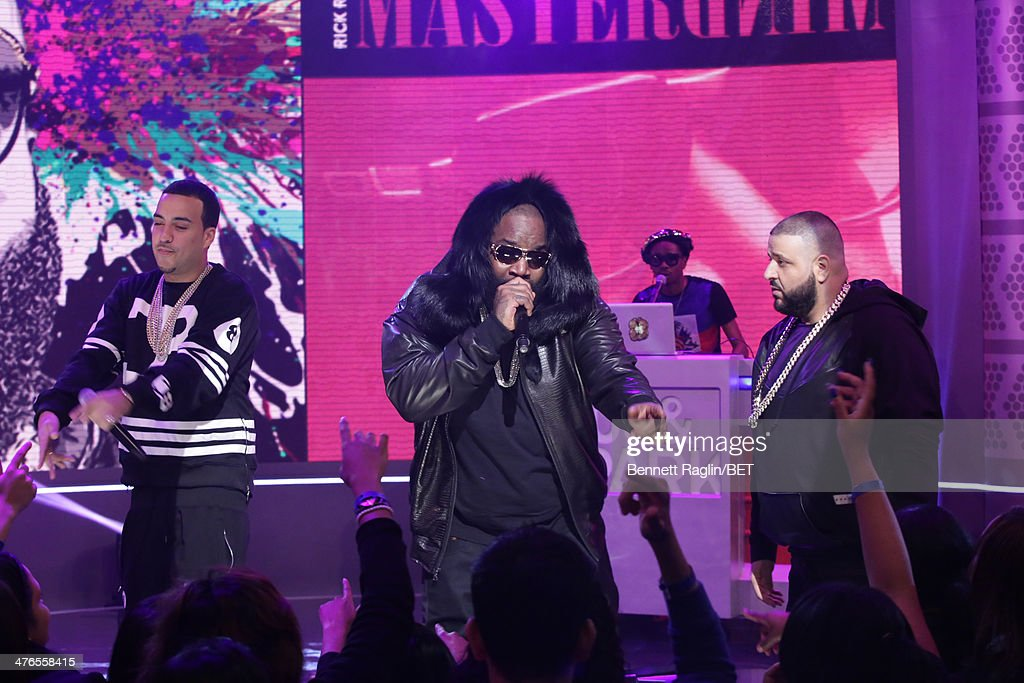 Recording artists French Montana, Rick Ross, and DJ Khaled perform during 106 & Parkat BET studio on March 3, 2014 in New York City.
