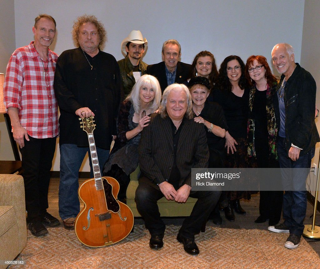 Front Row: Recording Artists EmmyLou Harris, <a gi-track='captionPersonalityLinkClicked' href=/galleries/search?phrase=Ricky+Skaggs&family=editorial&specificpeople=2134089 ng-click='$event.stopPropagation()'>Ricky Skaggs</a> and Breanda Lee. Back row: Gordon Kennedy, Brian Ahern, <a gi-track='captionPersonalityLinkClicked' href=/galleries/search?phrase=Brad+Paisley&family=editorial&specificpeople=206616 ng-click='$event.stopPropagation()'>Brad Paisley</a>, The Whites Buck White, Molly Skaggs, Cheryl White, Sharon White and <a gi-track='captionPersonalityLinkClicked' href=/galleries/search?phrase=Peter+Frampton&family=editorial&specificpeople=221428 ng-click='$event.stopPropagation()'>Peter Frampton</a> backstage at the CMA Theater on November 18, 2013 in Nashville, Tennessee. Skaggs was recently announced as the Country Music Hall of Fame and Museum's 2013 Artist-in-Residence.