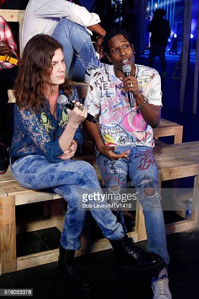 Recording artists Garrett Borns aka BORNS and ASAP Rocky are seen backstage at the 2016 MTV Woodies/10 For 16 on March 16 2016 in Austin Texas