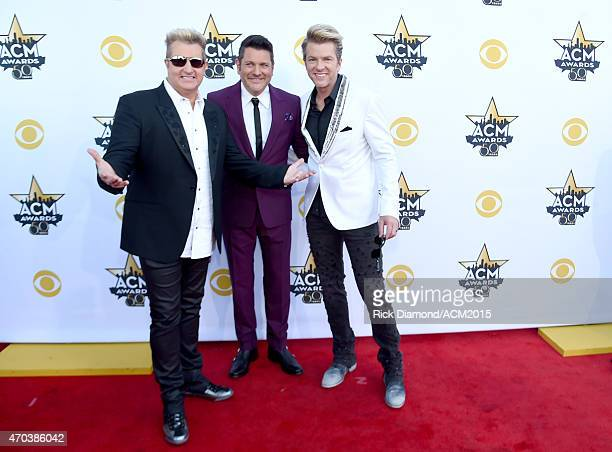Recording artists Gary LeVox Jay DeMarcus and Joe Don Rooney of music group Rascal Flatts attend the 50th Academy of Country Music Awards at ATT...