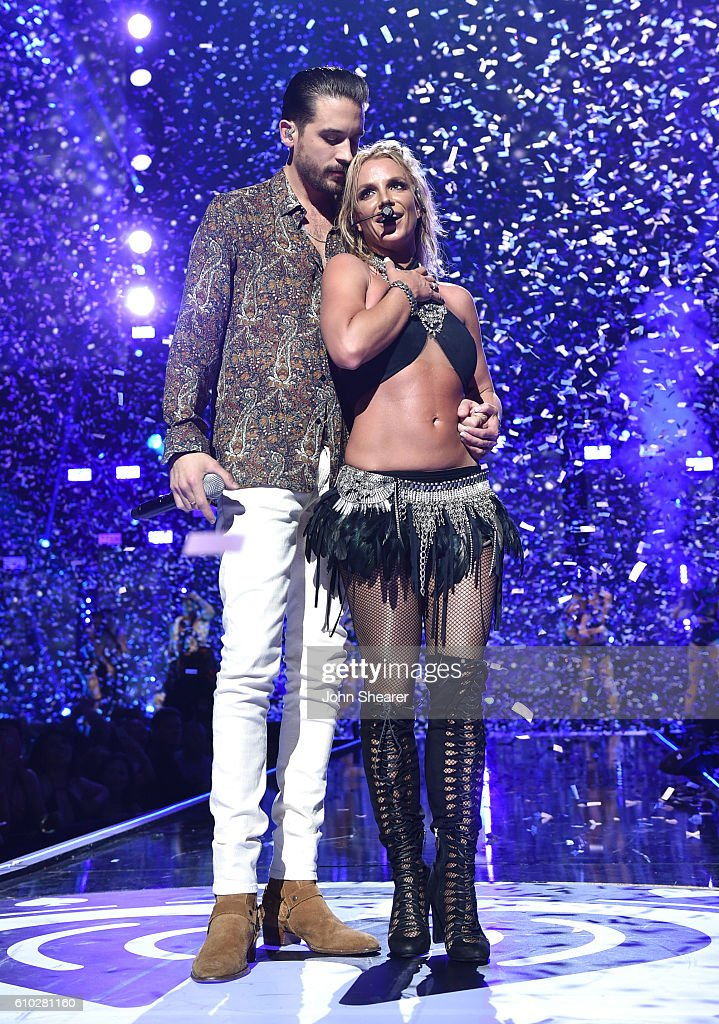 Recording artists G-Eazy (L) and Britney Spears perform onstage at the 2016 iHeartRadio Music Festival at T-Mobile Arena on September 24, 2016 in Las Vegas, Nevada.