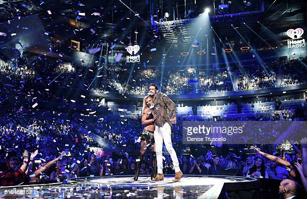 Recording artists GEazy and Britney Spears perform onstage at the 2016 iHeartRadio Music Festival at TMobile Arena on September 24 2016 in Las Vegas...