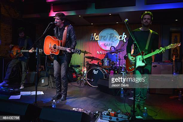 Recording Artists George Birge and Cody Cooper of Waterloo Revival perform during an evening with Big Machine Label Group Artists The Cadillac Three...