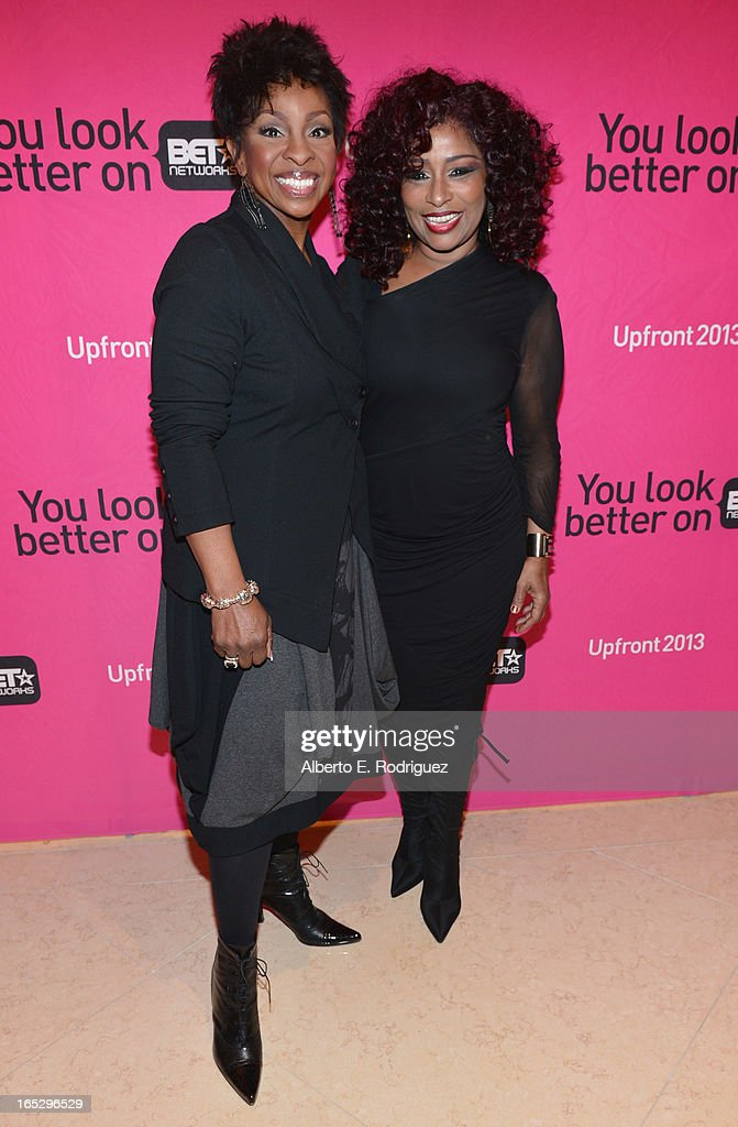 Recording artists Gladys Knight and Chaka Khan attend the BET Networks' 2013 Los Angeles Upfront at Montage Beverly Hills on April 2, 2013 in Beverly Hills, California.