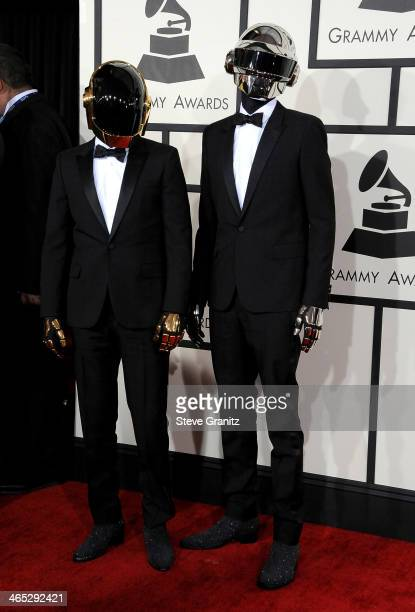 Recording artists GuyManuel de HomemChristo and Thomas Bangalter of Daft Punk attend the 56th GRAMMY Awards at Staples Center on January 26 2014 in...