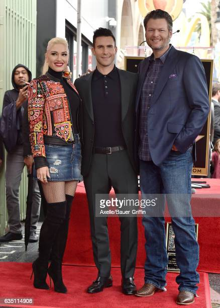 Recording artists Gwen Stefani Adam Levine and Blake Shelton attend the ceremony honoring Adam Levine with star on the Hollywood Walk of Fame on...