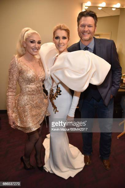 Recording artists Gwen Stefani Celine Dion and Blake Shelton attend the 2017 Billboard Music Awards at TMobile Arena on May 21 2017 in Las Vegas...
