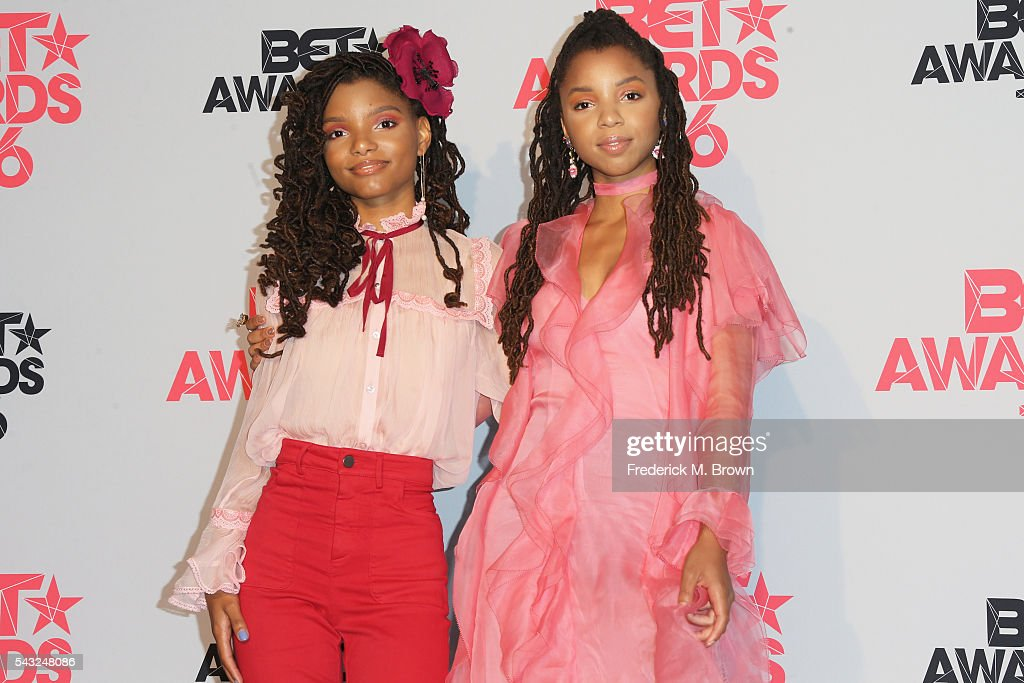 Recording artists Halle Bailey (L) and Chloe Bailey of Chloe X Halle pose in the press room during the 2016 BET Awards at the Microsoft Theater on June 26, 2016 in Los Angeles, California.