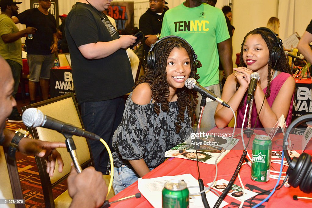 Recording artists Halle Bailey (L) and Chloe Bailey of Chloe X Halle attend the radio broadcast center during the 2016 BET Experience at the JW Marriott Los Angeles L.A. Live on June 24, 2016 in Los Angeles, California.