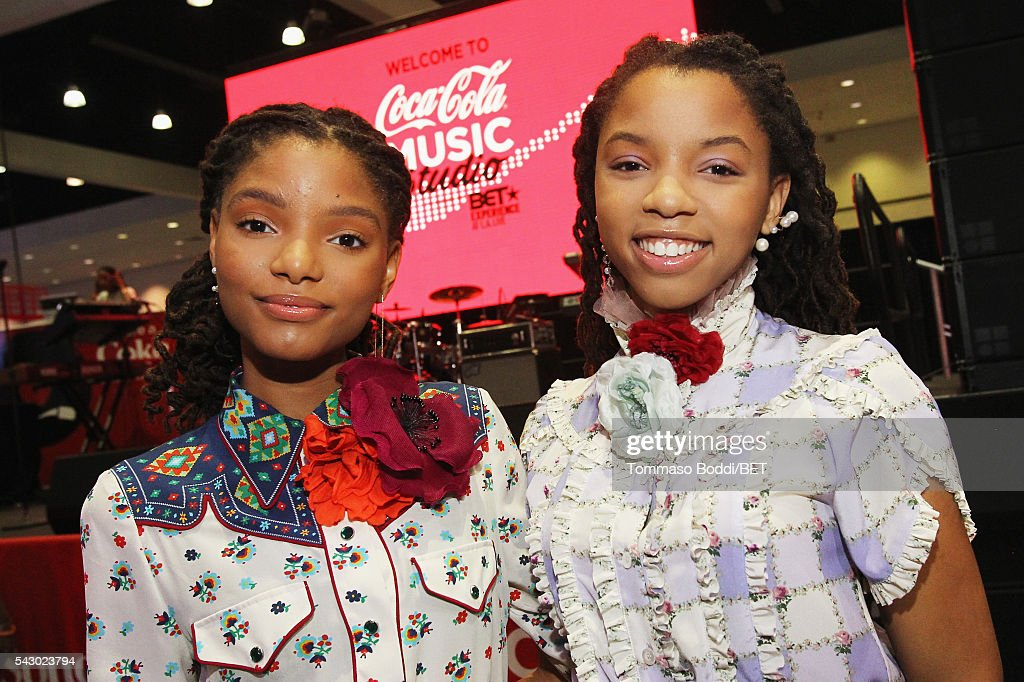 Recording artists Halle Bailey (L) and Chloe Bailey of Chloe x Halle attend the Coke music studio during the 2016 BET Experience on June 25, 2016 in Los Angeles, California.