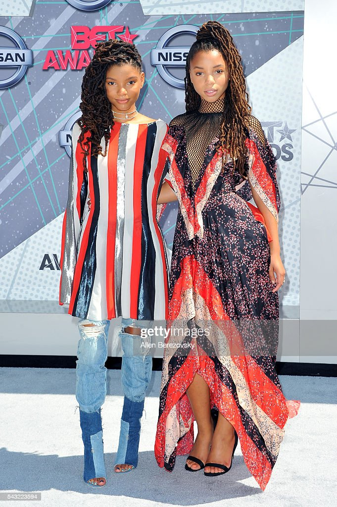 Recording artists Halle Bailey (L) and Chloe Bailey of Chloe X Halle attend the 2016 BET Awards at Microsoft Theater on June 26, 2016 in Los Angeles, California.