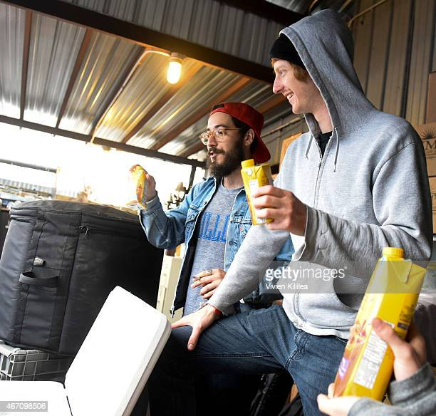 Recording artists Harry Kagan and Duncan Shea of Music Band attend Gevalia Iced Coffee with Almond Milk at Rachael Ray's Feedback House on March 20...