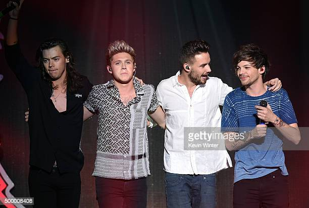 Recording artists Harry Styles Niall Horan Liam Payne and Louis Tomlinson of One Direction perform onstage during 1027 KIIS FM's Jingle Ball 2015...