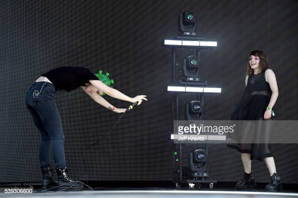 Recording artists Hayley Williams and Lauren Mayberry of Chvrches perform onstage at What Stage during Day 2 of the 2016 Bonnaroo Arts And Music...