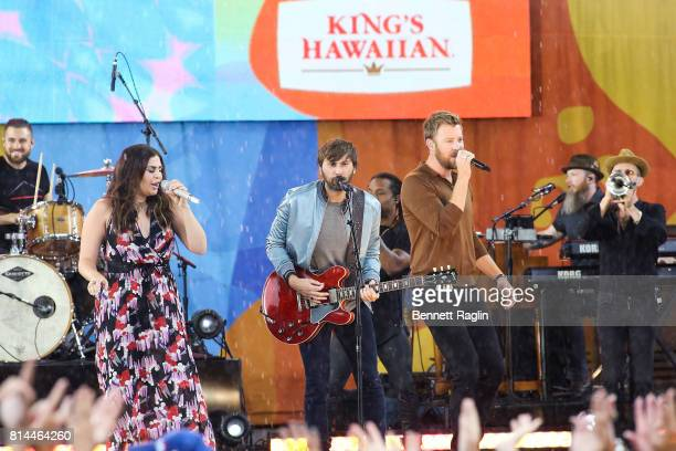 Recording artists Hillary Scott Dave Haywood and Charles Kelley of Lady Antebellum perform on ABC's 'Good Morning America' at Rumsey Playfield on...